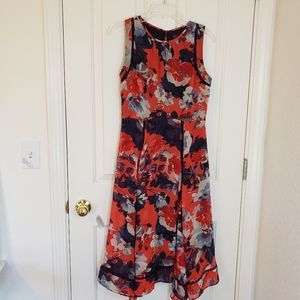 Just Taylor Red and Navy Floral Print Dress Size 6